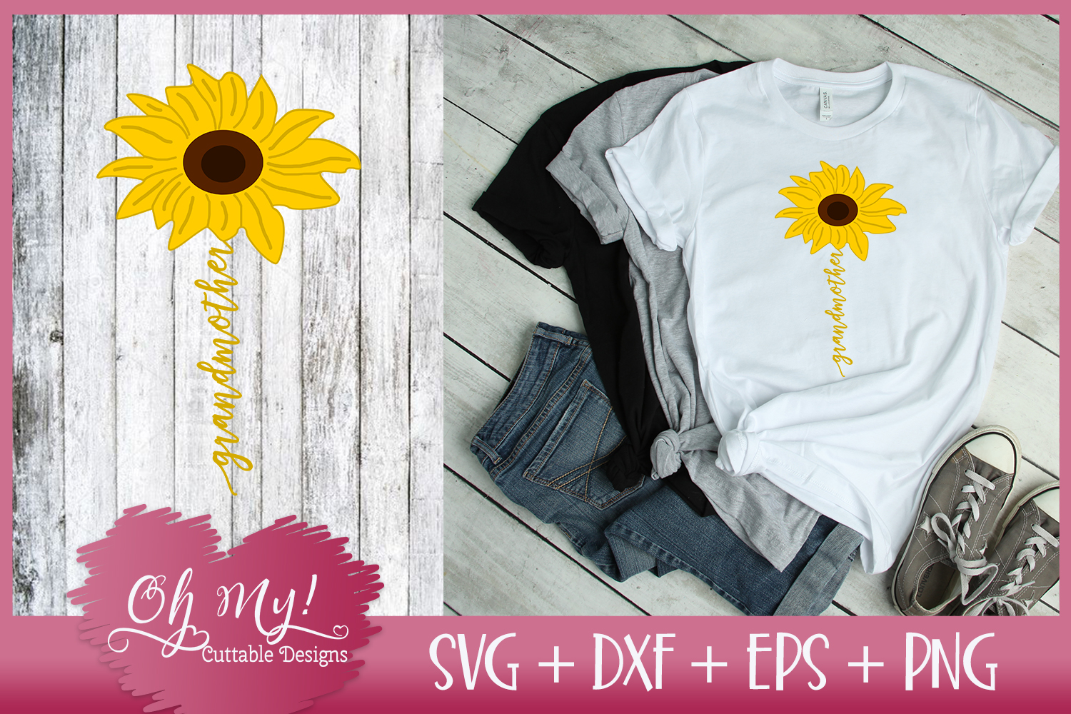 Grandmother Sunflower - SVG EPS DXF PNG Cutting File example image 3