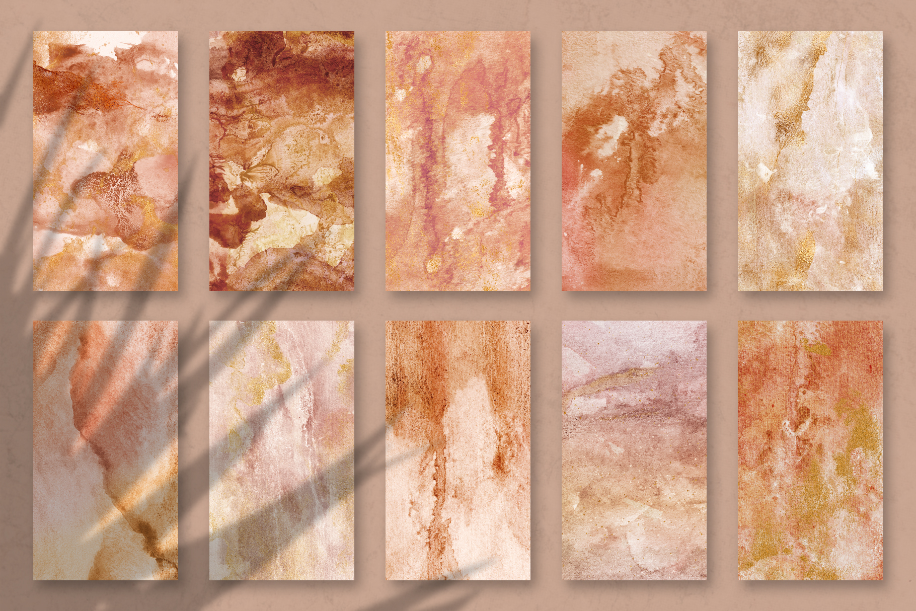 20 Seamless Watercolor Textures - Burnt Orange Backgrounds example image 16