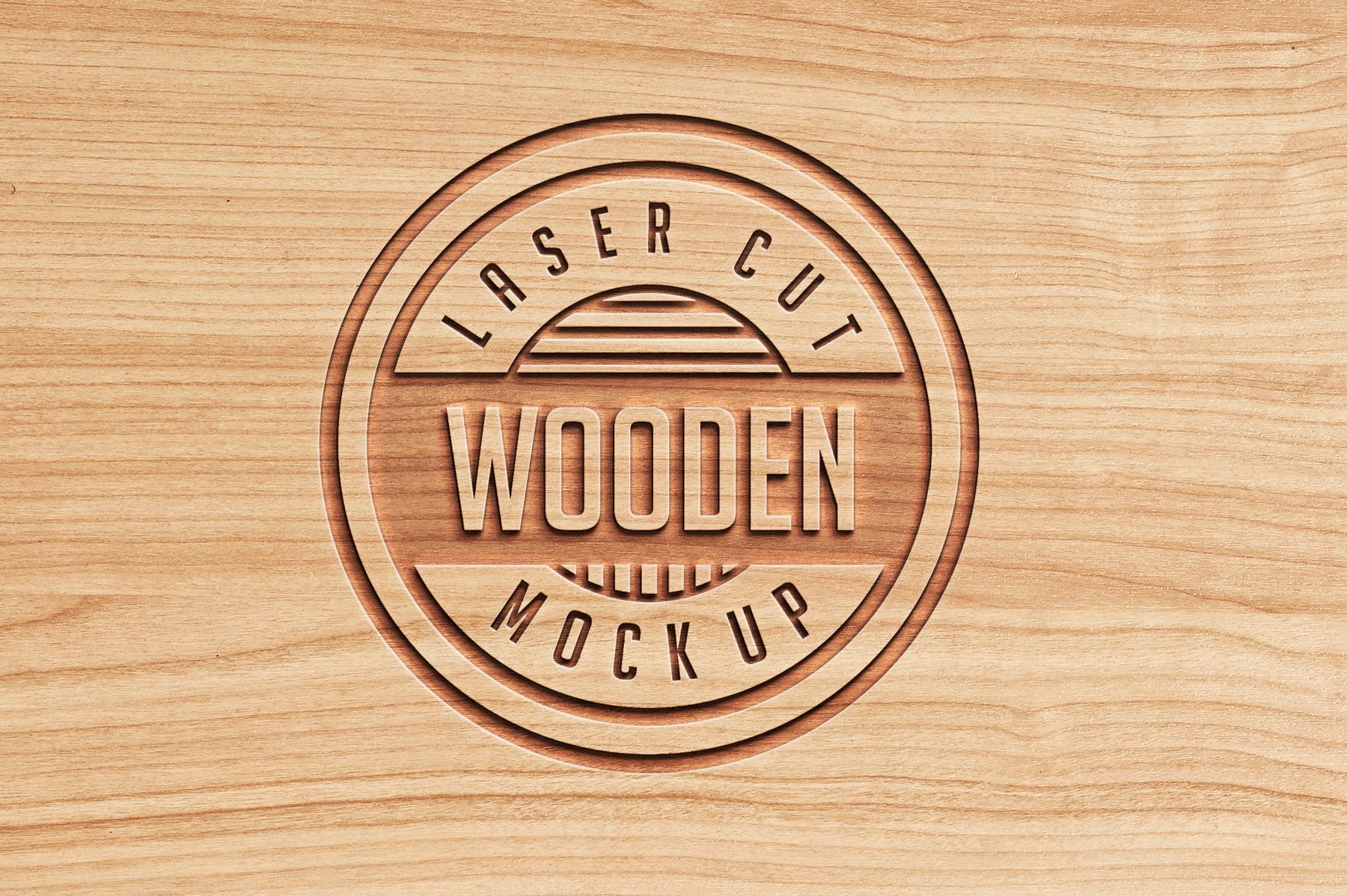 Logo Mock Ups  Wood Set example image 5