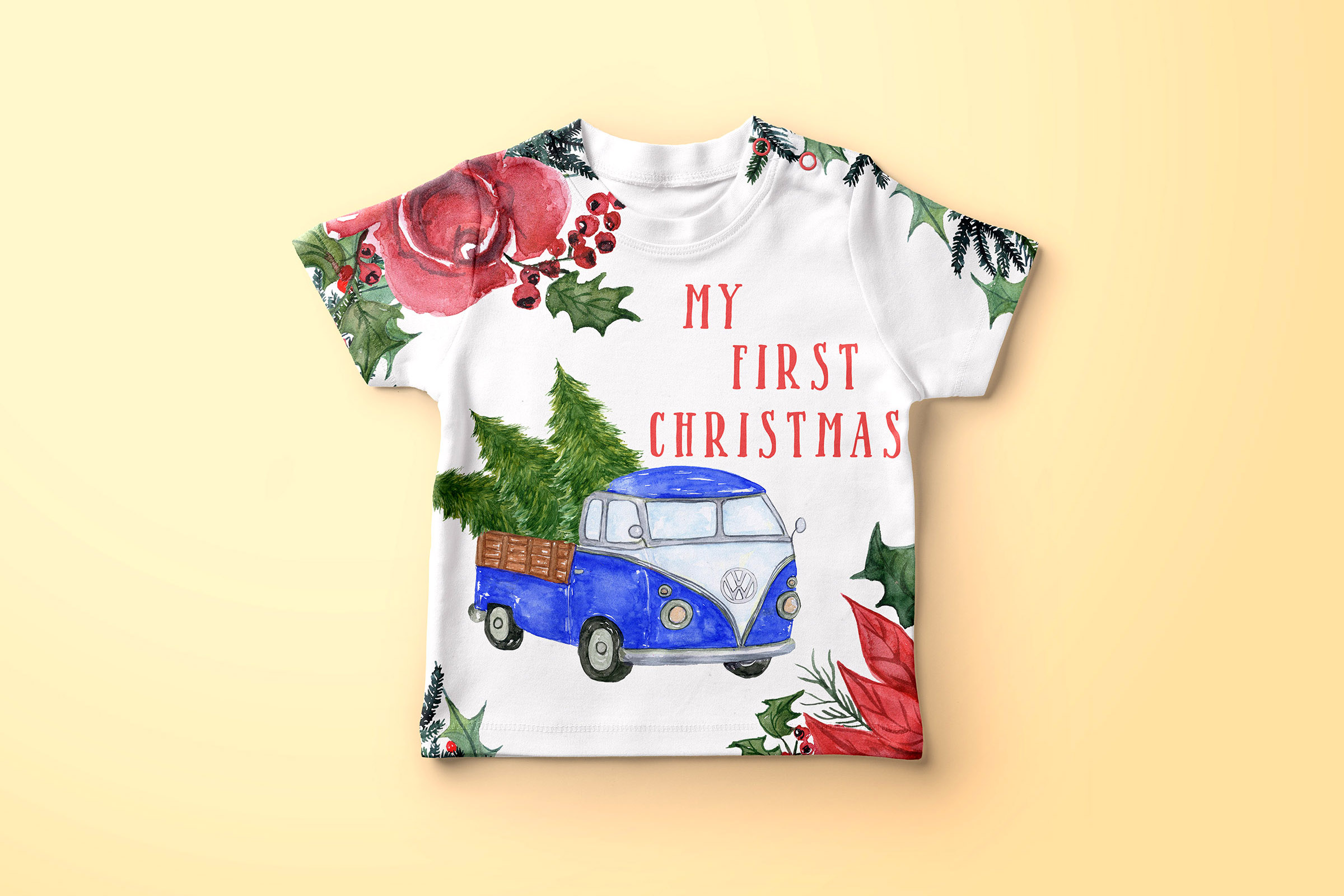 Watercolor Christmas Trucks clipart example image 3