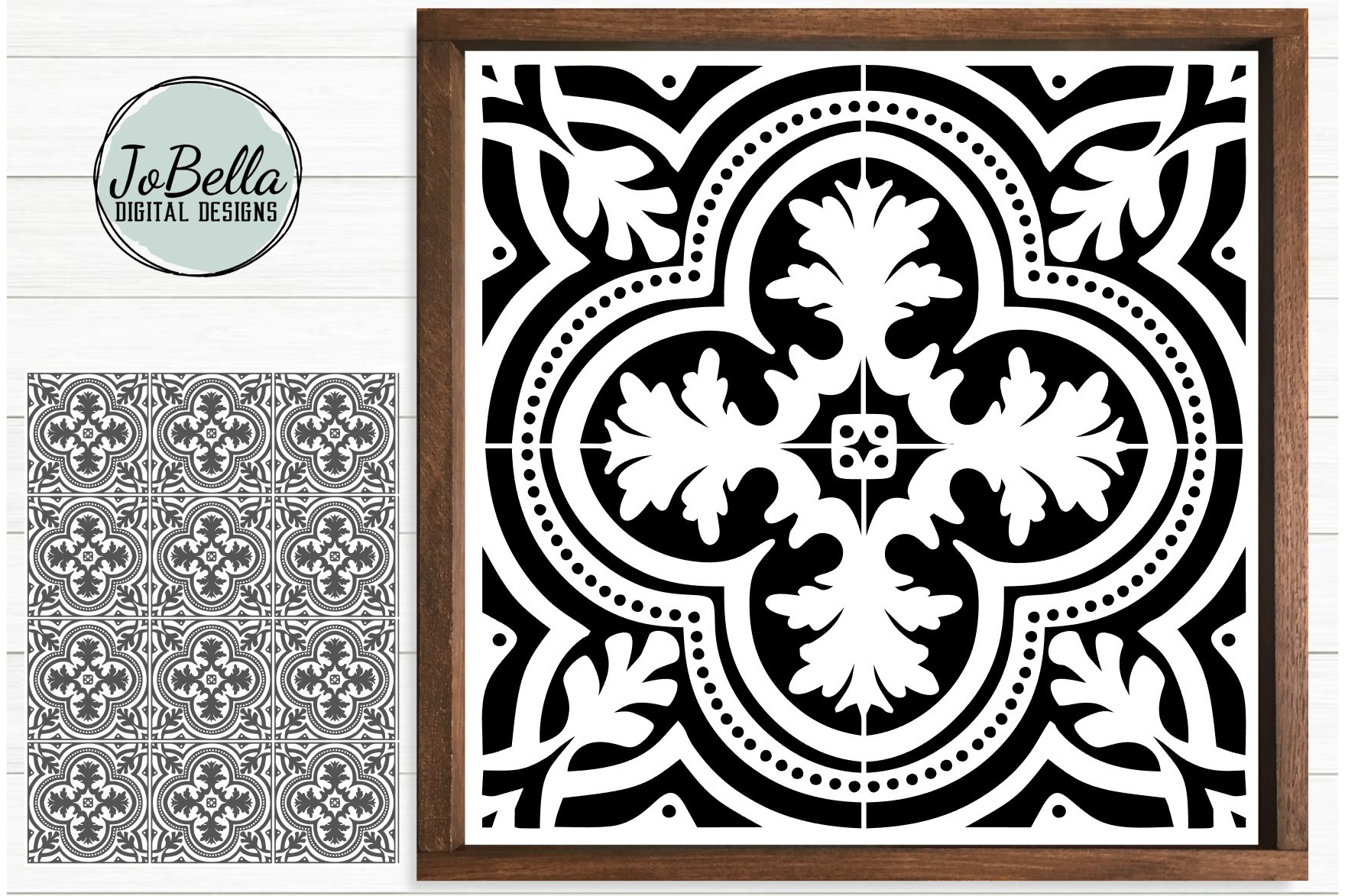 Spanish Tile 1 SVG, Stencil Template and Printable example image 1