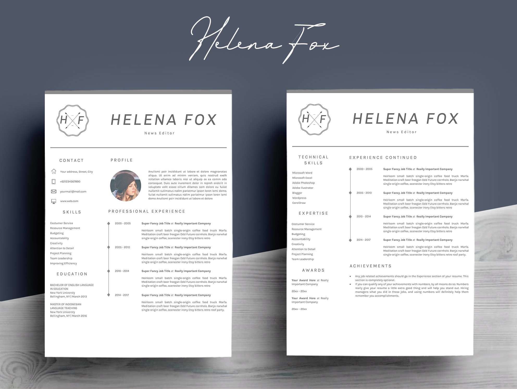 Creative Chic Resume Template 4 Pages example image 4