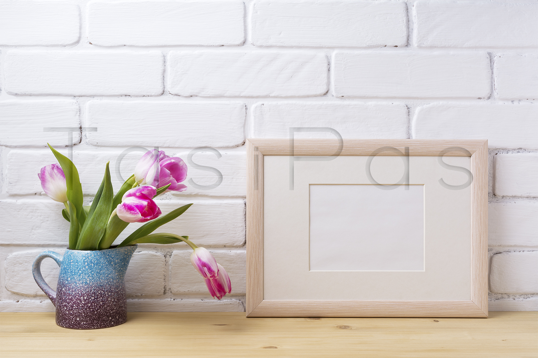 Wooden landscape frame mockup with pink tulip in purple pitcher. example image 2