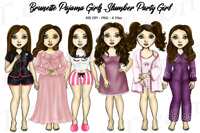 Pajama Girls Slumber Party Brunette Sleepover Clipart example image 1