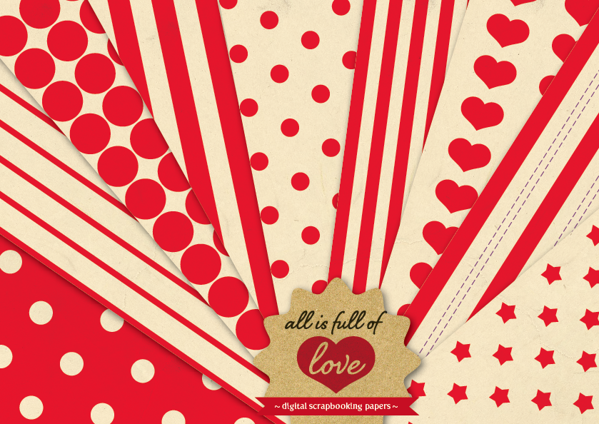 Red Background Patterns Retro Digital Paper Pack with Stripes, Dots, Stars and Hearts example image 1