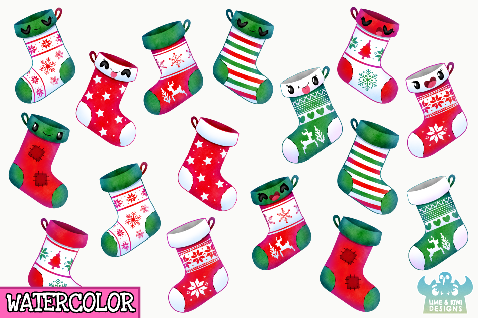 Christmas Stockings Watercolor Clipart, Instant Download example image 2