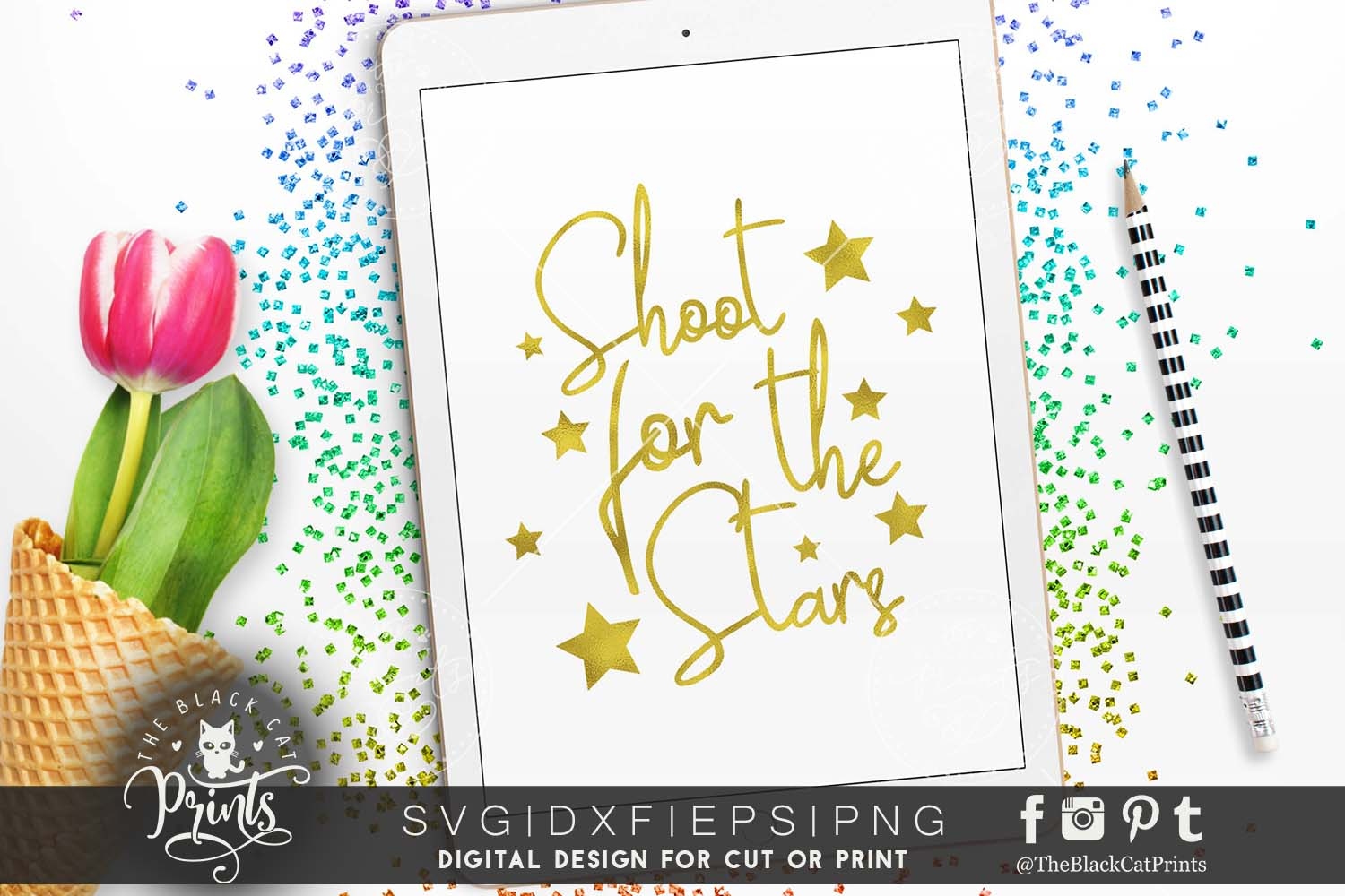 Shoot for the stars SVG PNG EPS DXF example image 2