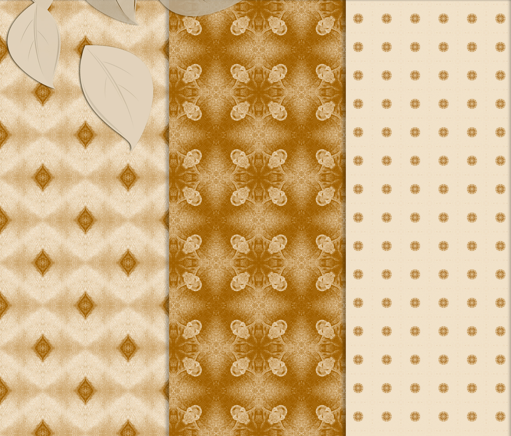 Ancient white-beige floral and geometrical Scrapbook Paper. example image 2