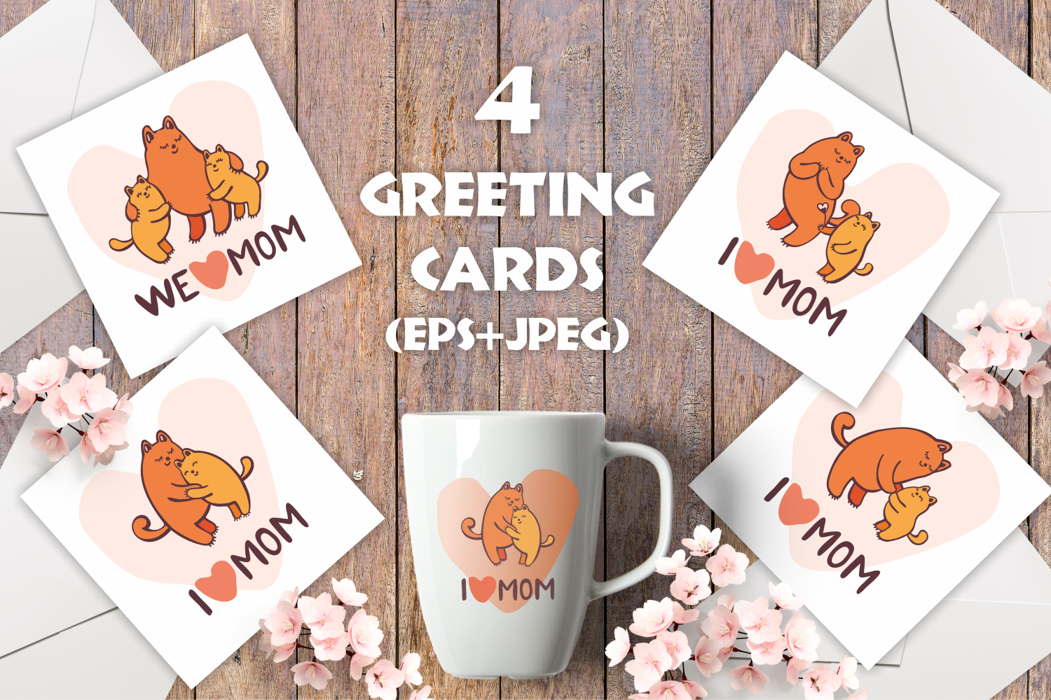 Funny cats. Mothers day greeting cards and patterns example image 3
