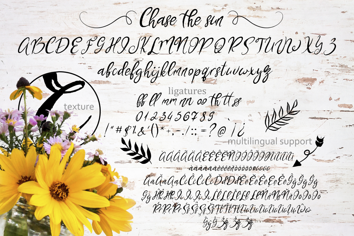 Chase The Sun. Font & illustrations example image 7