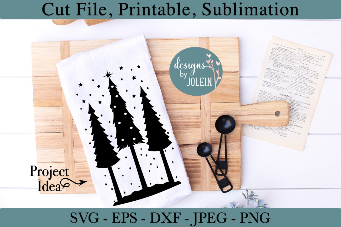 Snowy Christmas Trees SVG, png, eps, DXF, sublimation example image 4
