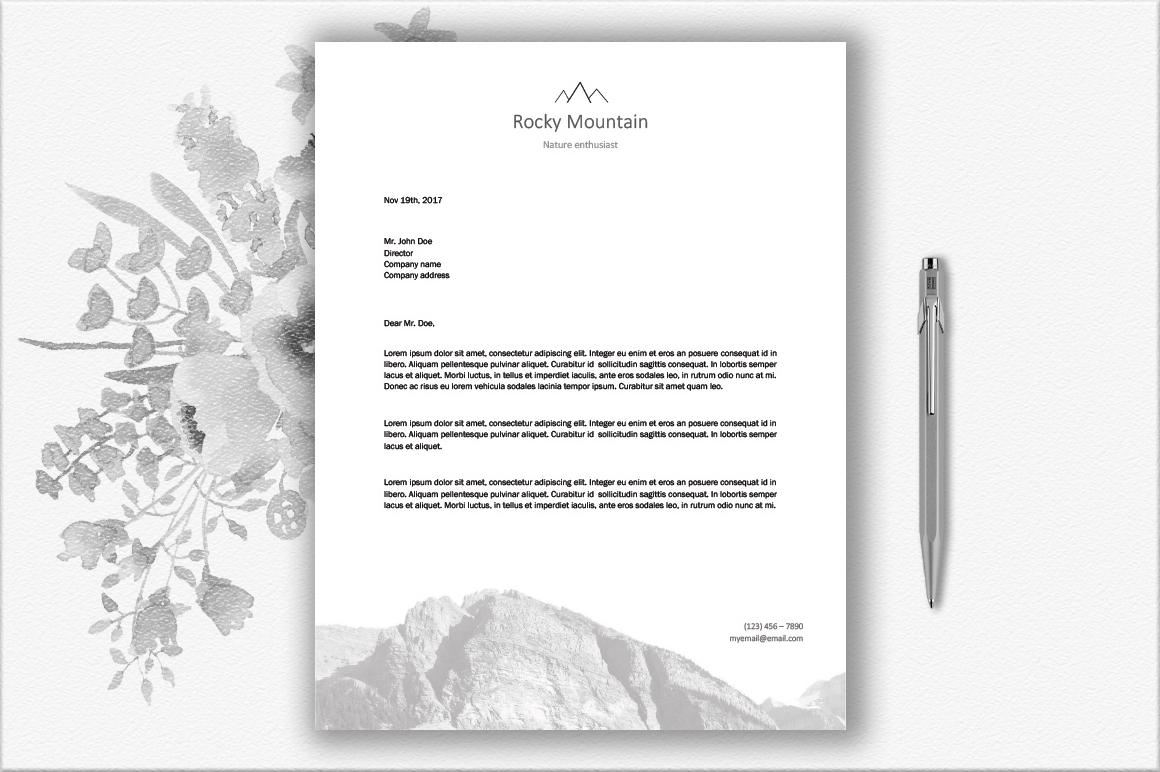 Mountains Letterhead Design Template example image 2