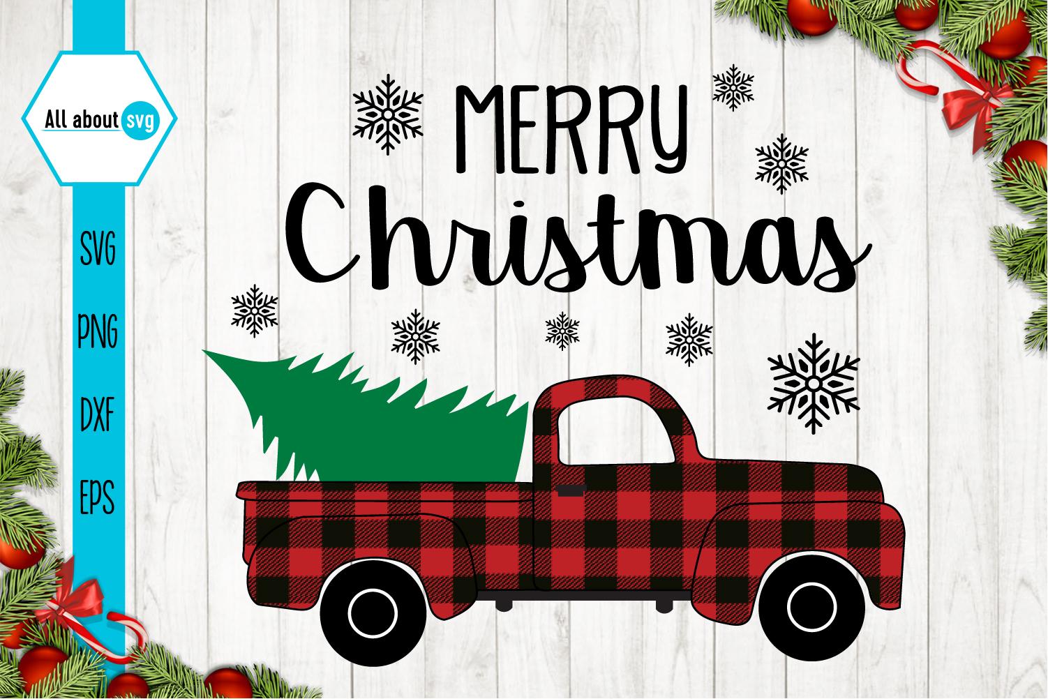 Merry Christmas Truck Svg, Buffalo Plaid Christmas Truck example image 2