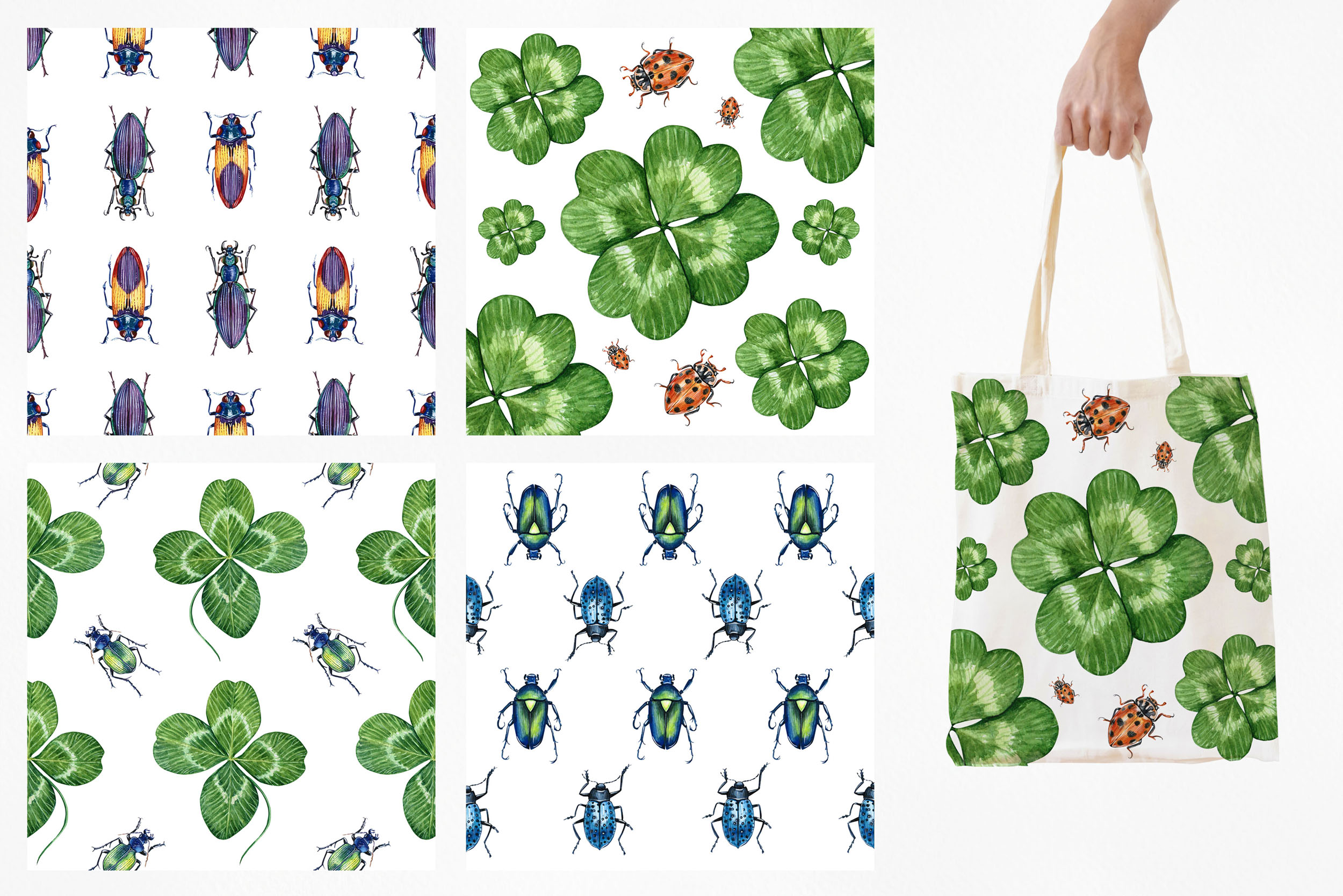 Beetles & Leaves. Watercolor set illustrations example image 5