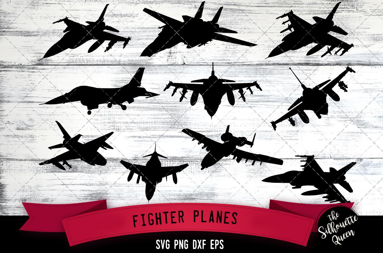 Fighter plane svg file, svg cut file, silhouette studio example image 1