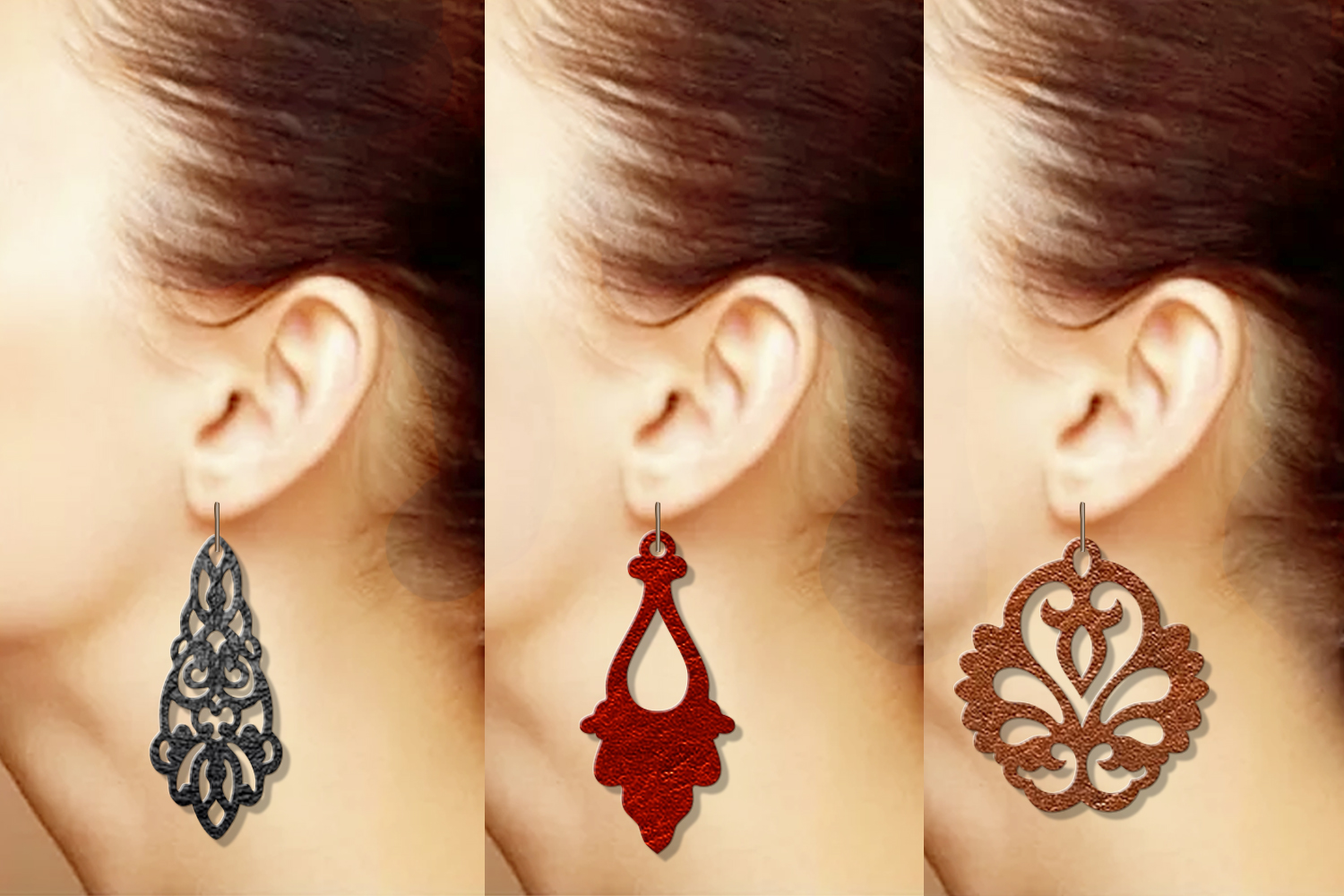 9 Damask earrings svg Leather earrings svg Necklace svg example image 5