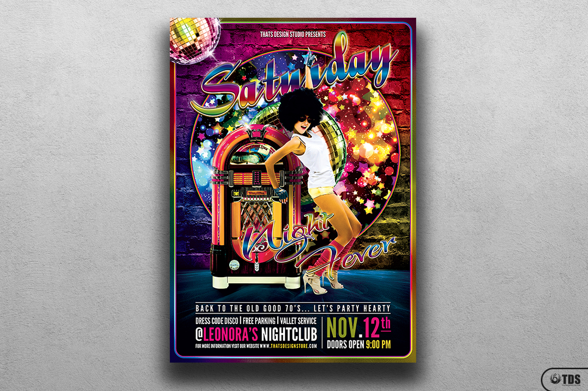 Saturday Night Fever Flyer Template example image 1