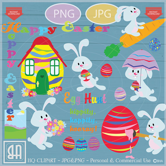 Easter bunny clip art - Personal and commercial use - Easter example image 1