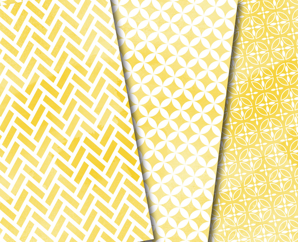Yellow Watercolor Digital Paper Japan Background Patterns Soft Blue example image 3