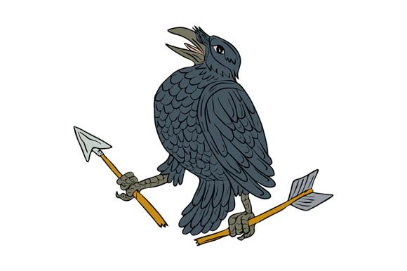 Crow Clutching Broken Arrow Drawing example image 1