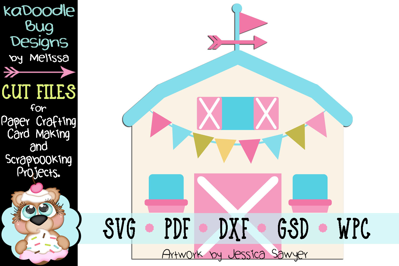 Pretty Farmhouse Barn Cut File - SVG PDF DXF GSD WPC example image 1