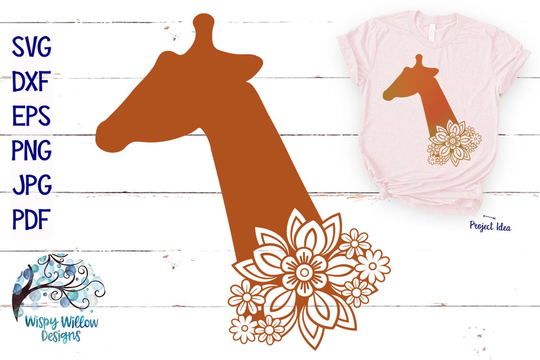 Floral Giraffe SVG | Animal SVG Cut File example image 1
