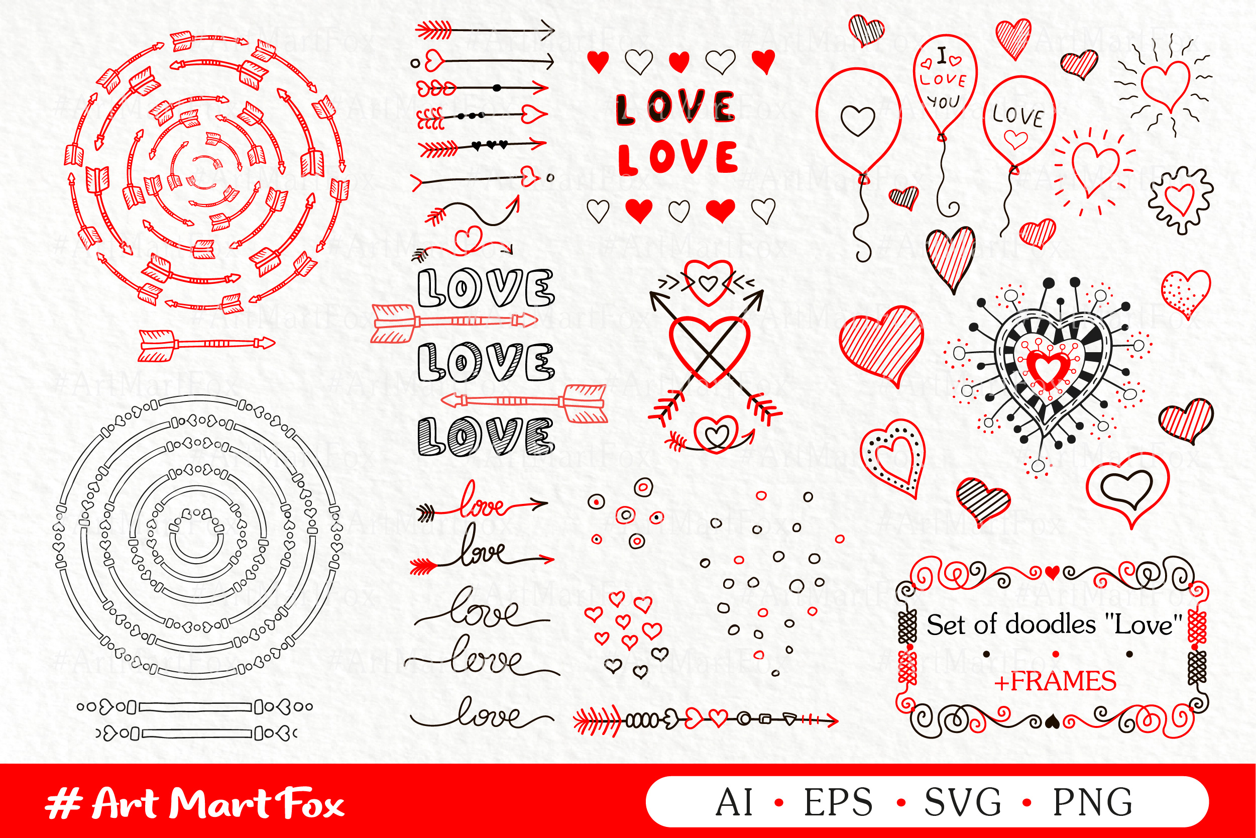 Set of hearts and arrows drawn by hands example image 1