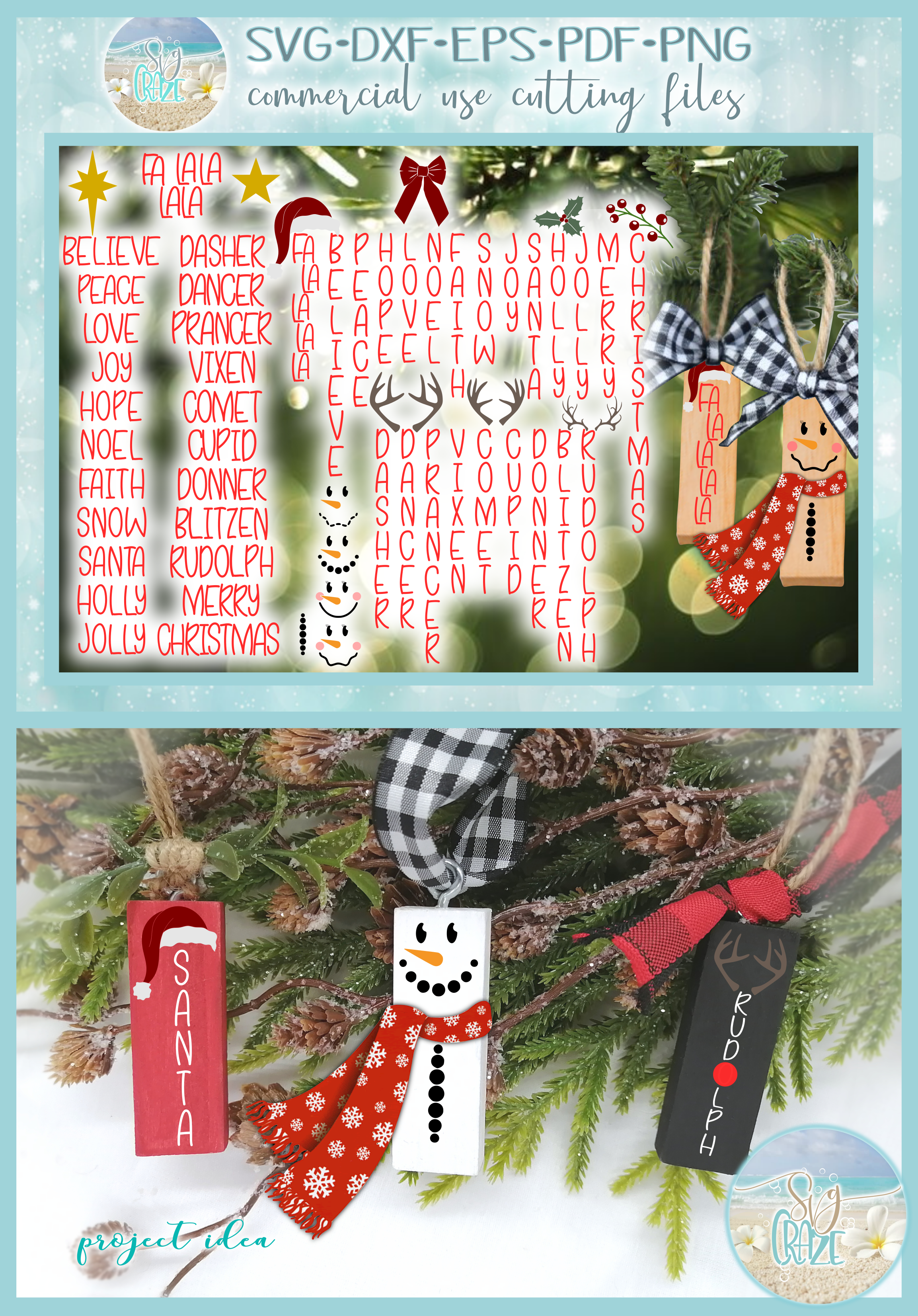 Hand Lettered Skinny Font Words with Christmas Elements SVG example image 4