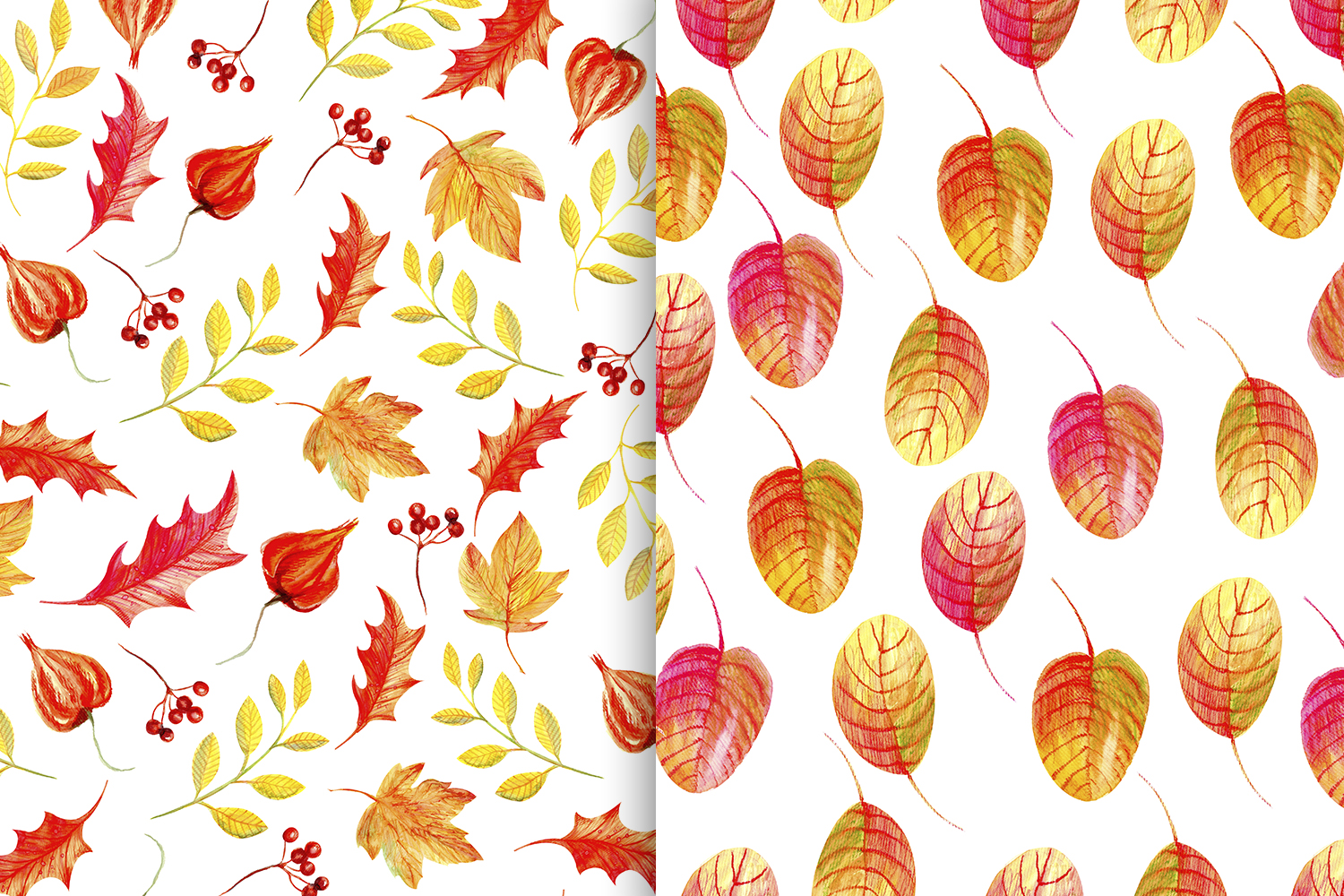 Autumn Watercolor Seamless Patterns Set example image 4