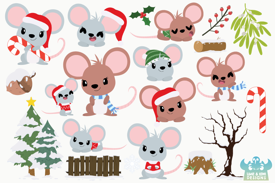 Christmas Mice Clipart, Instant Download Vector Art example image 2
