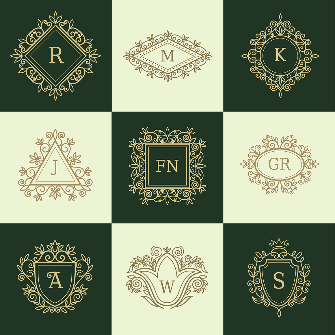 Set of vintage frames and monograms example image 9