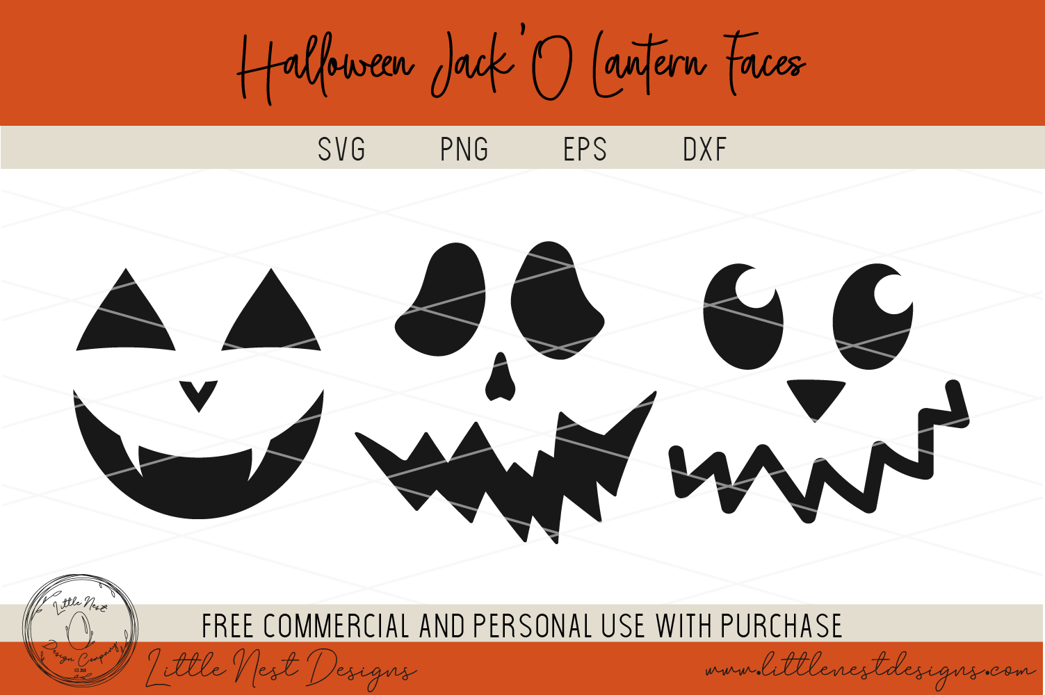 Halloween Jack O Lantern Faces - Pumpkin Faces - SVG Pumpkin example image 2