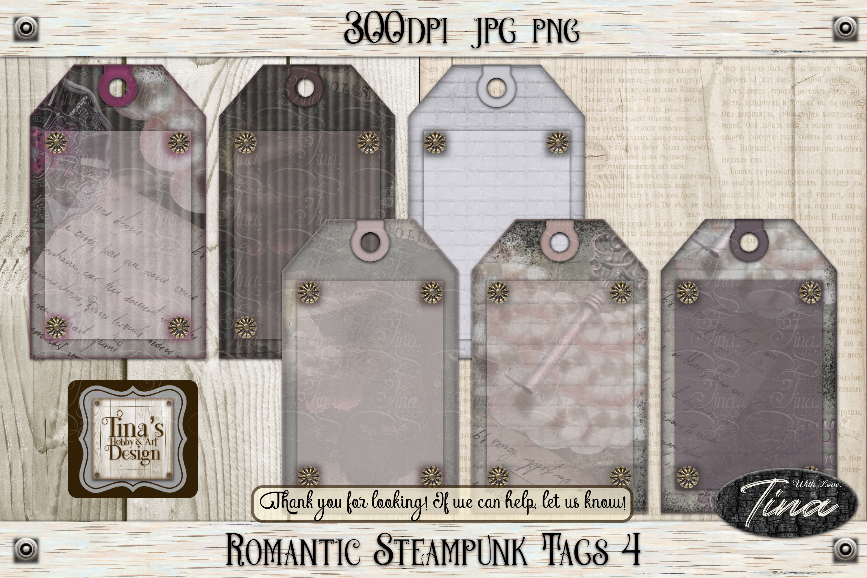 Romantic Steampunk Tags 3 Collage Mauve Grunge 101918RST3 example image 10