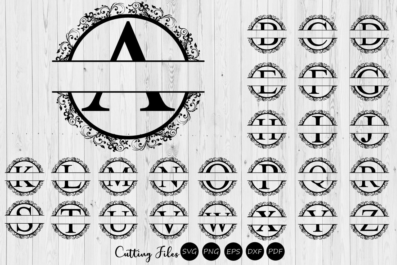 Split Alphabet Floral Monogram | SVG | Commercial use | example image 1