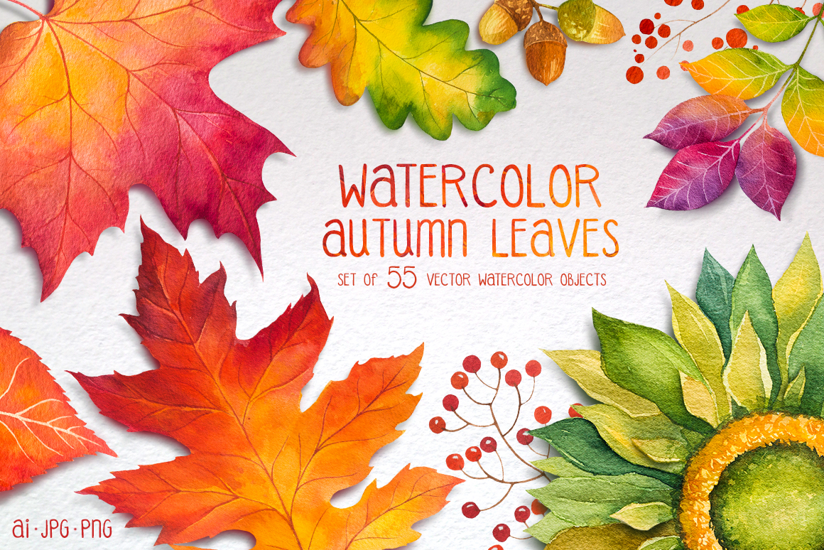 autumn leaves watercolor set