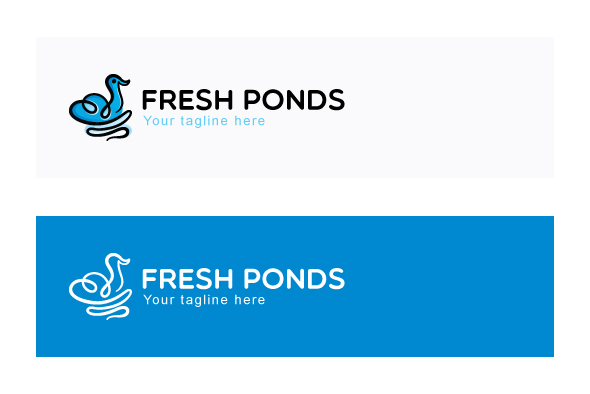 Fresh Ponds - Continuous Line Style Floating Swan Stock Logo example image 2