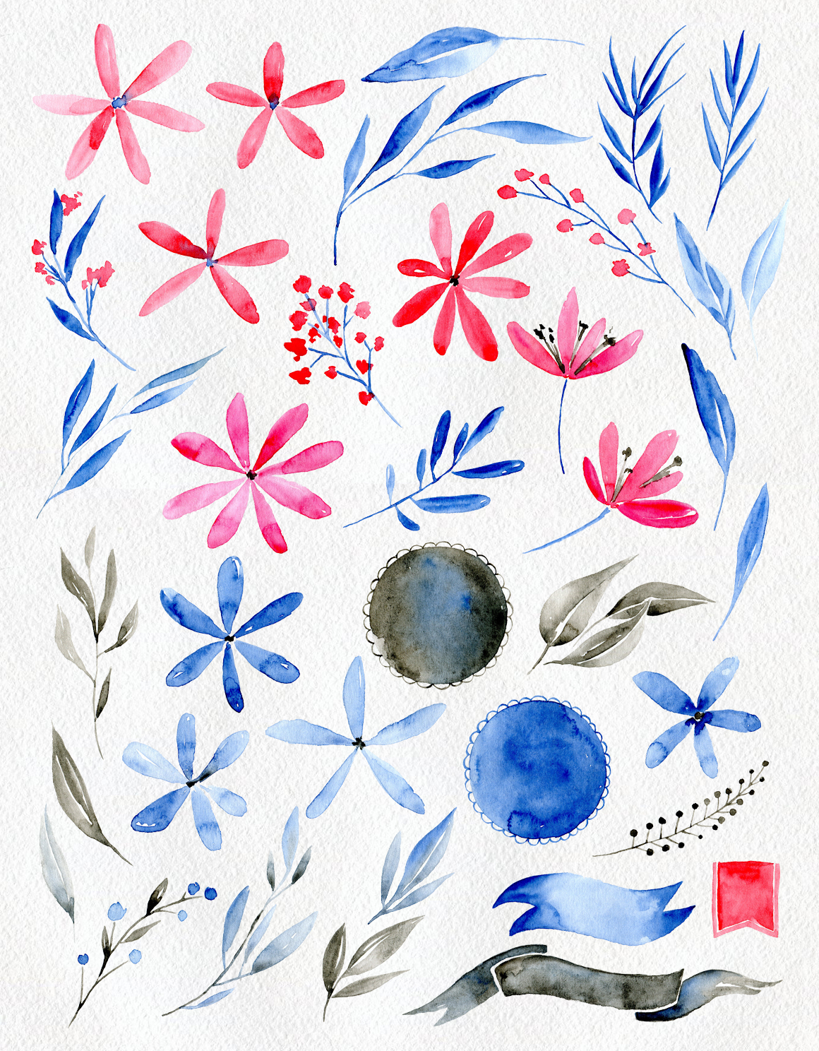 Watercolor flowers: blue, red, brown example image 2