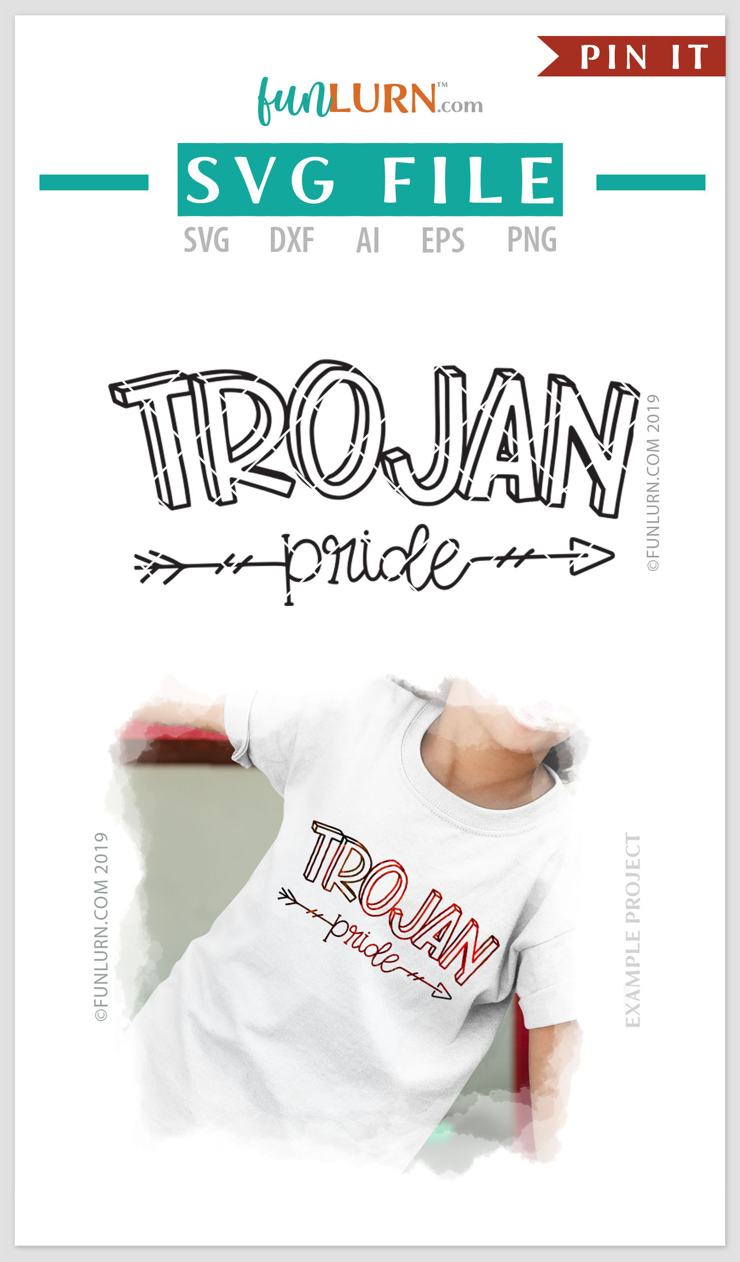 Trojan Pride Team SVG Cut File example image 4