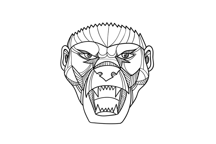 Honey Badger Head Monoline example image 1