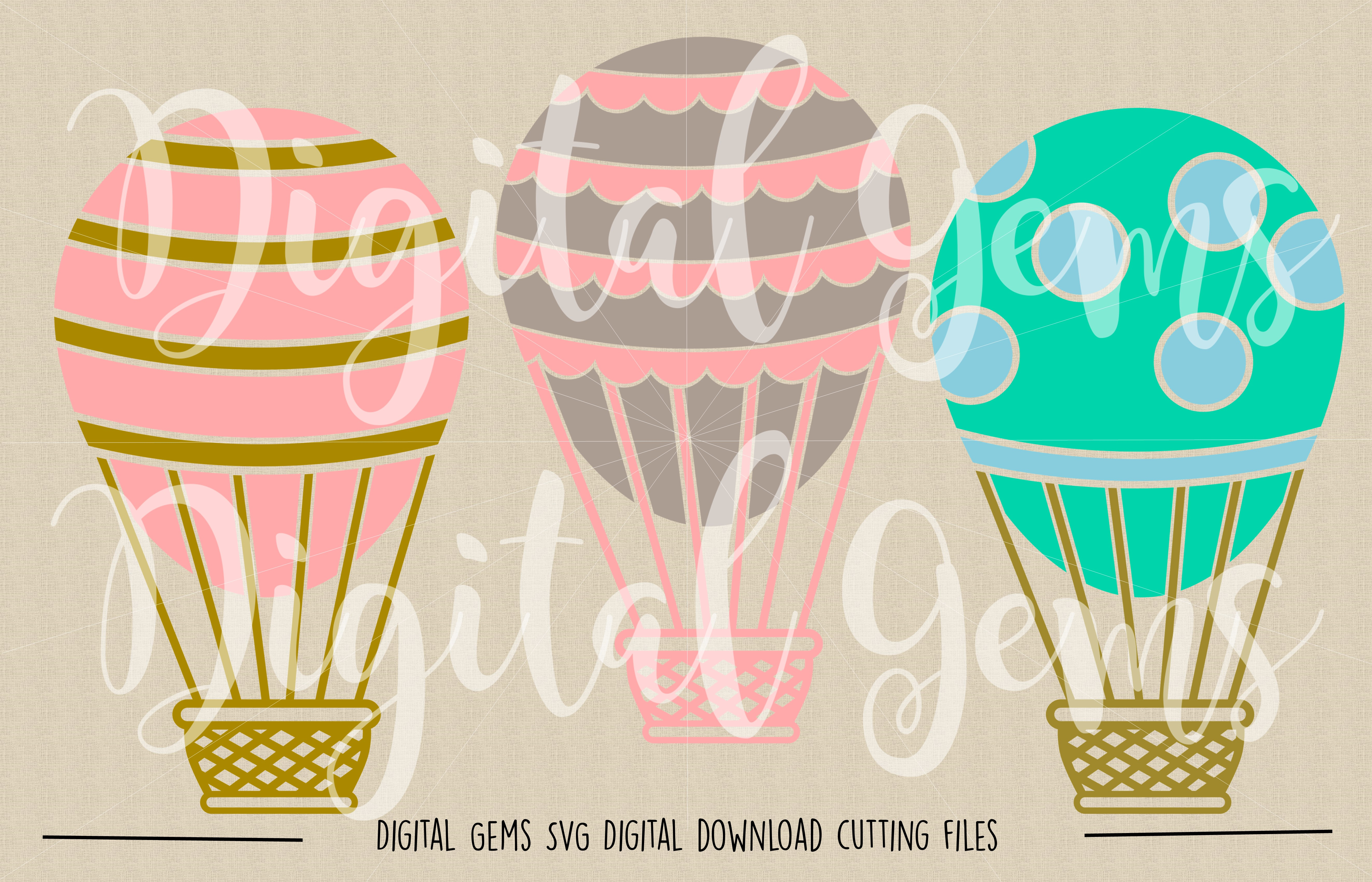 Hot Air Balloon SVG / PNG / EPS / DXF Files example image 2