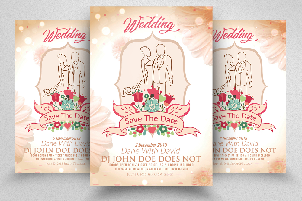 Wedding Invitation Flyer/Poster Template example image 1