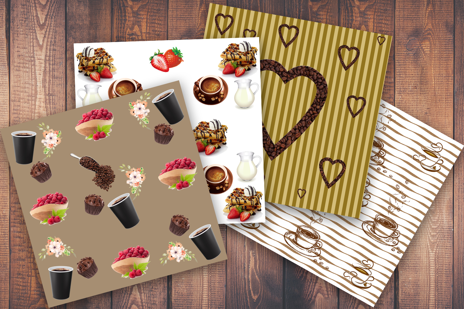 Coffee, Coffee cup, Muffin, scrapbook paper, scrapbook, SALE example image 3