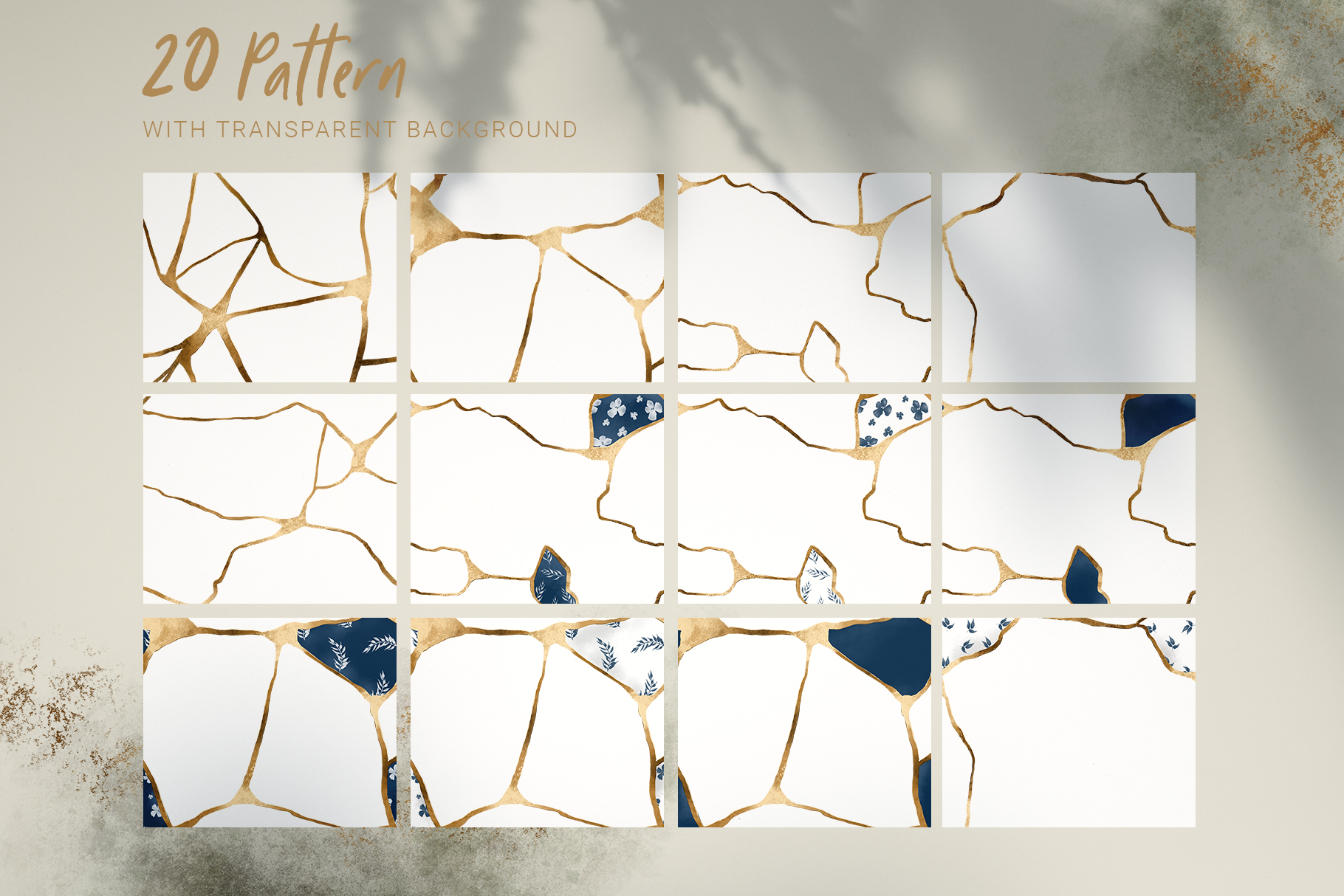 Kintsugi seamless pattern set example image 3