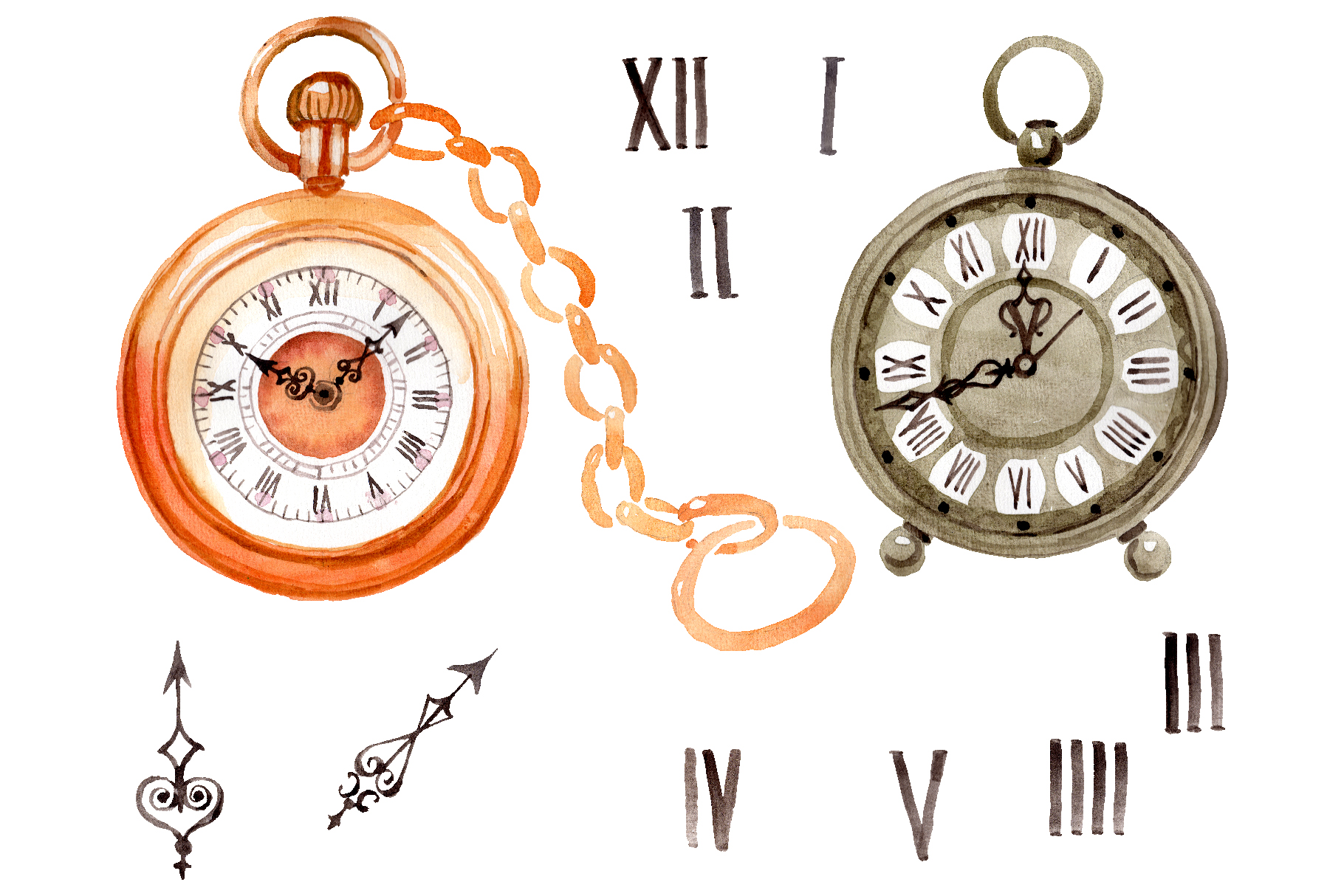 Clock old antiques watercolor png example image 1
