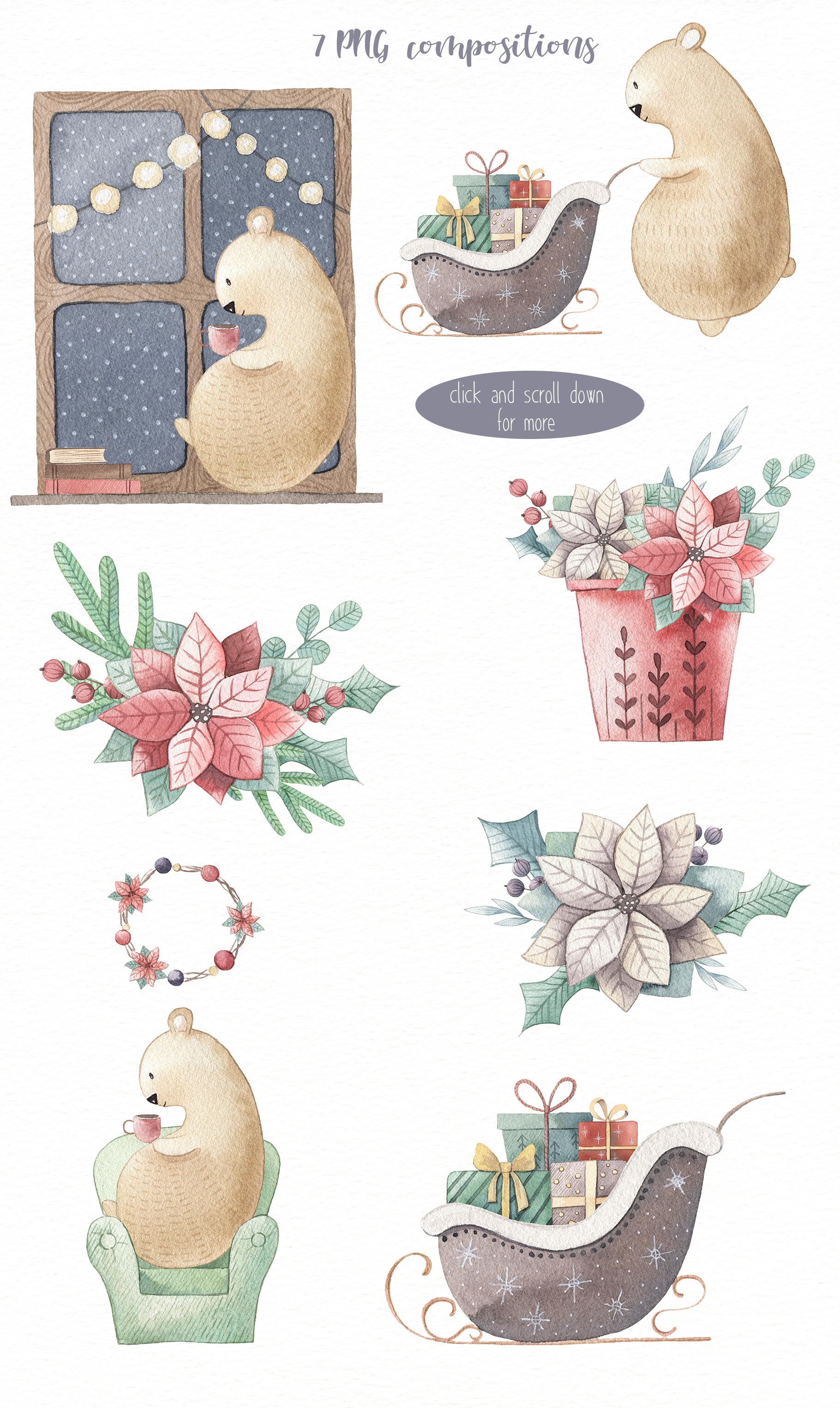 One Bear Christmas Story-Watercolor set example image 4