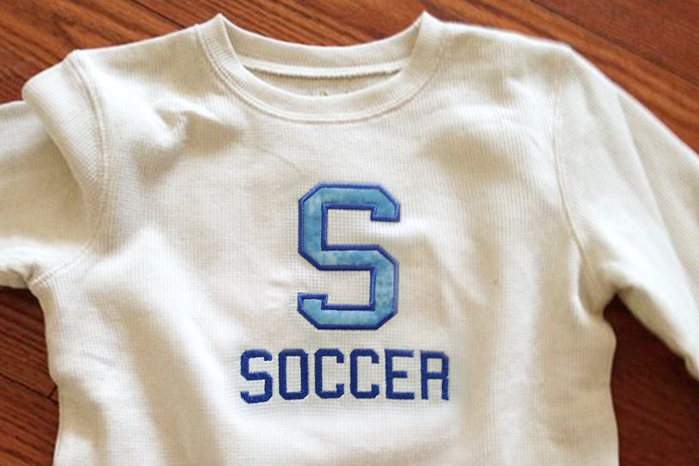 S for Soccer Applique Embroidery Design example image 1