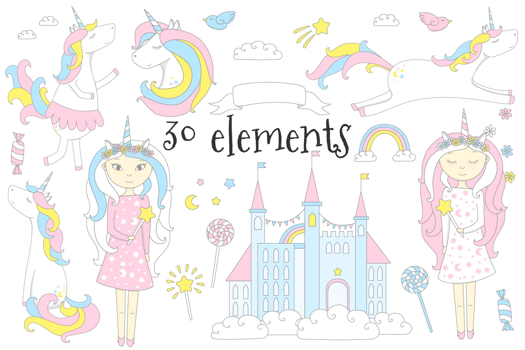 Dreamy unicorn, illustration bundle example image 4