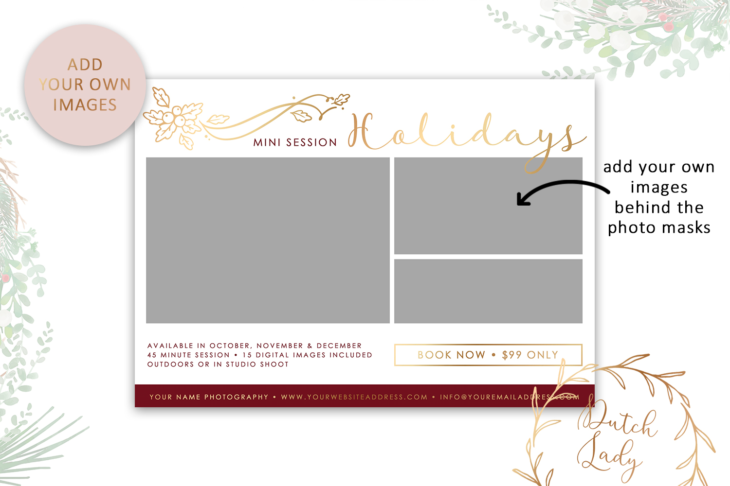 PSD Photo Mini Session Card Template - Design #21 example image 2