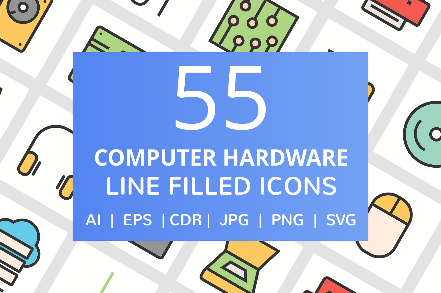55 Computer & hardware Filled Line Icons example image 1