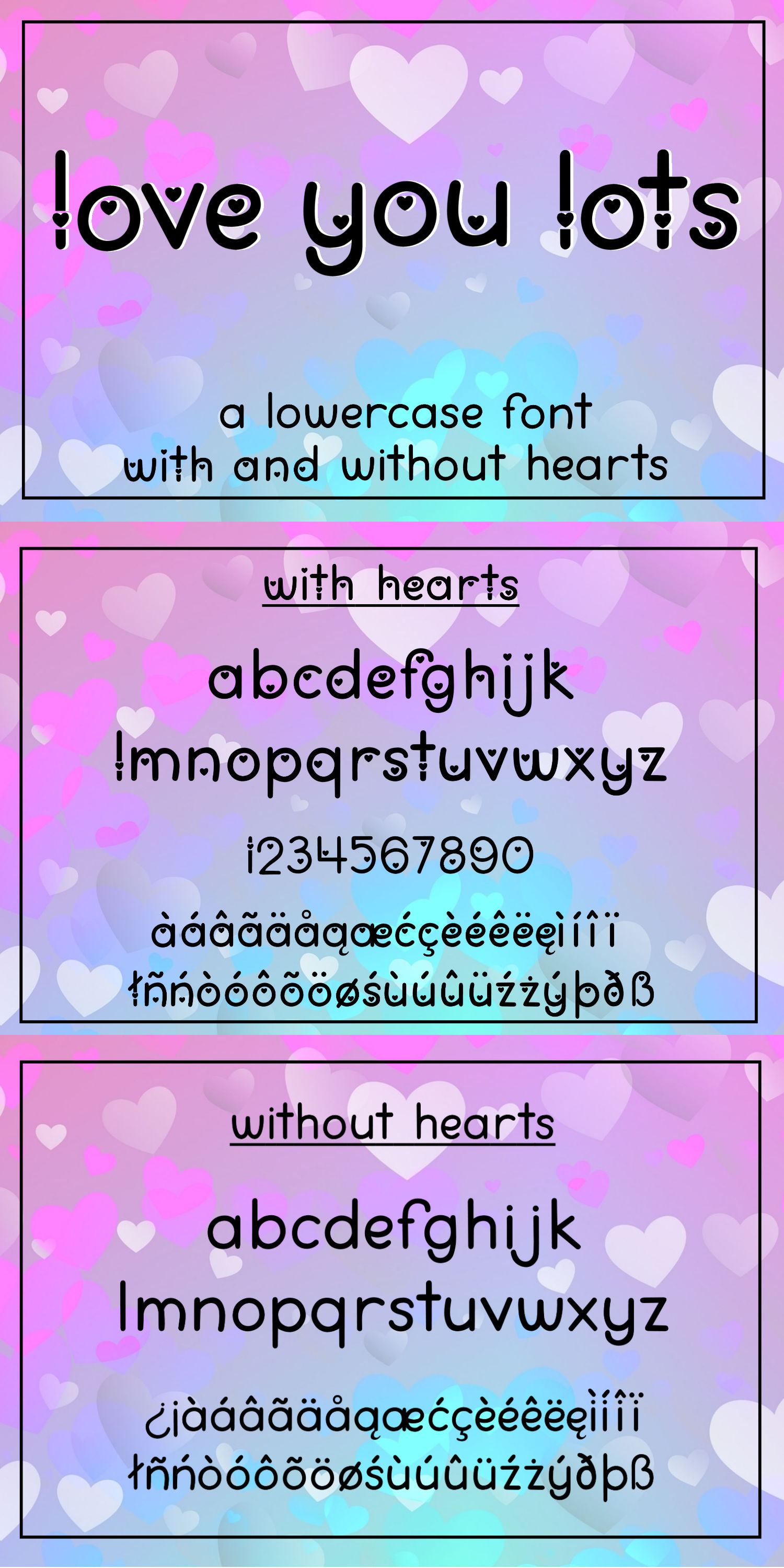 Love You Lots - a lowercase font with and without hearts example image 8